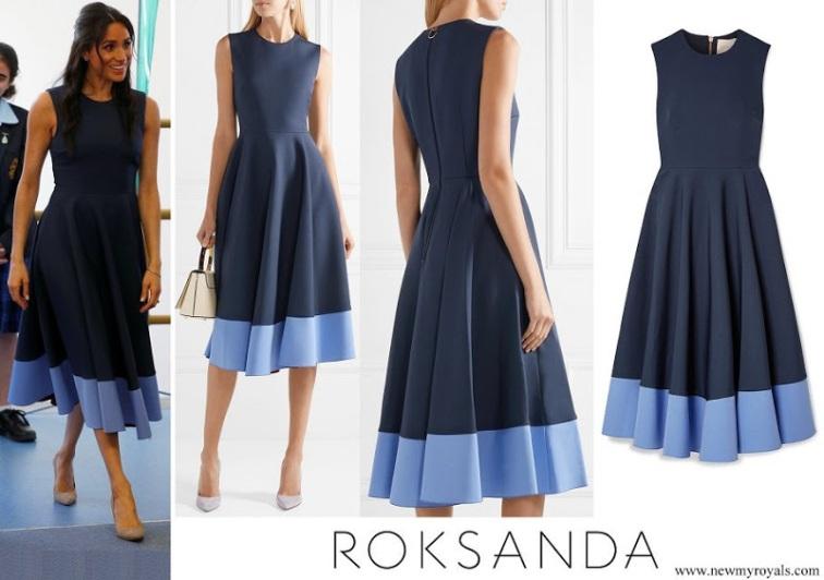 Meghan Markle wore Roksanda Athena pleated two-tone crepe midi dress www.newmyroyals.com